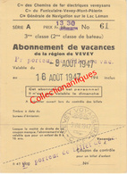 Carte D'abonnement De Vacances De La Région De Vevey Août 1947 C.F.F. Suisse - St-Gingolph - Vevey - Abbonamenti