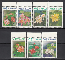 Vietnam, 1987  Yvert Nº 847E / 847L MNH,  Flores De Agua, Nenúfar Rosado, Nymphaea Lotus, Nymphaea Gigantea Hook, Etc - Vegetales
