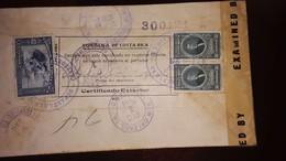 O) 1944 COSTA RICA, MERCURY AND PLANE SC C96 40c, JOSE MARIA ALFARO SC C84 50c, CENSORSHIP - EXAMINED, CERTIFICADO EXTER - Costa Rica