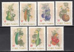 Vietnam, 1988  Yvert Nº 911 / 917  MNH, Calabaza, Berenjena, Tomates, Luffa Cylidrica, Etc. - Frutas