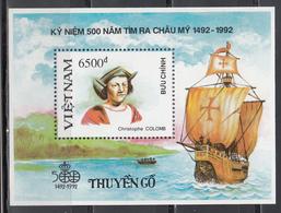 Vietnam, 1988  Yvert Nº HB 63  MNH, 500 Aniversario. Del Descubrimiento De América, - Cristóbal Colón