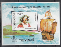 Vietnam, 1988  Yvert Nº HB 63  MNH,Barcos Antiguos, Carabela,  500 Aniversario. Del Descubrimiento De América, - Bateaux