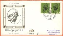 GERMANIA - GERMANY - Deutschland - ALLEMAGNE - 1969 - 2 X Gandhi-Jahr - FDC - Bonn - [7] Repubblica Federale