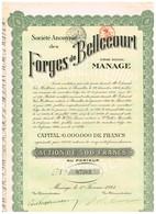 Titre Ancien - Société Anonyme Des Forges De Bellecourt - Titre De 1924 - N°07262 - Industrie