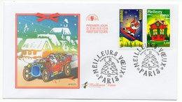 FDC France 1998 - Meilleurs Vœux 1998 - YT 3200 Père Noël Et YT 3201 Maison Décorée - Paris - 1990-1999
