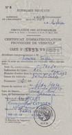 CERTIFICAT  D' IMMATRICULATION  PROVISOIRE  DE  VEHICULE  -  1969  -  (  CARTE  GRISE  PROVISOIRE )  . - Voitures