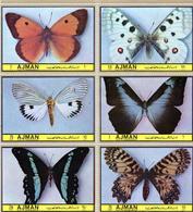 1972 Ajman Fauna Insects Mariposas Butterflies 6v. Mint. - Mariposas