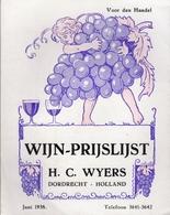 Wijn-Prijslijst Juni 1938 - H. C. Wyers Dordrecht - Holland - Cuisine & Vins