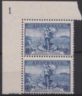 AUSTRALIA - 1936 Tasman Cable Plate 1 Corner Pair. Scott 158. MNH ** - Nuovi