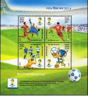 5X INDIA 2014 FIFA World Cup Brazil; Miniature Sheet, MINT - Unused Stamps