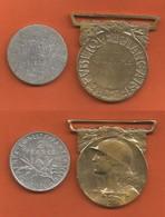 *** RARE ** 2 F Argent Gravée 27533  C.D HINMAN R.E. FRANCE AUG. 1914 - 1917 + Médaille Dorée GRANDE GUERRE 1914 - 1918 - France