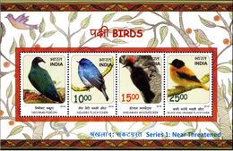 5X INDIA 2016 Birds: Near Threatened; Miniature Sheet, MINT - India
