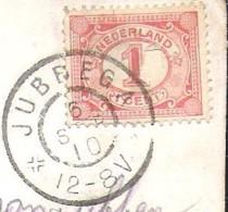 JUBBEGA Groeten Uit Met Mooi Grootrondstempel JUBBEGA 1910 En Aankomststempel Grootrond HUIZUM - Otros