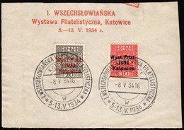 POL SC #280-1 U W/special Cancel 1934 Katowice Philatelic Exhibition CV $85.00 (as Used Singles) - Blocks & Sheetlets & Panes