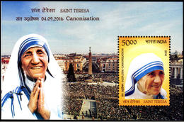5X INDIA 2016 Saint Teresa Canonization; Miniature Sheet, MINT - Unused Stamps