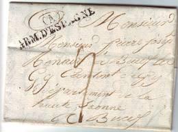 ARMEE D' ESPAGNE Bureau A Sur Lettre Texte Date De Barcelonne Le 9 Juillet 1826 TTB++ Signee Chevalier - Marcophilie (Lettres)