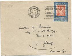 IRIS 1FR50 ORANGE  SUR PORTE TIMBRE ALCOOL TUE  LIGUE CONTRE ALCOOLISME DIJON 24.II.1942 AU TARIF RARE - 1939-44 Iris