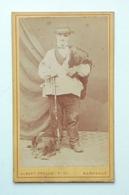 Ancienne Photo CDV XIXème Berger Avec Son Chien Albert Prouzet Photographe à Bordeaux - Alte (vor 1900)