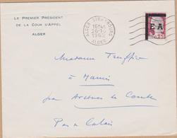 ENVELOPPE TIMBRE  EA- 1962  ALGER STRABOURG  VOIR TIMBRE ET CACHETS - Algérie (1962-...)