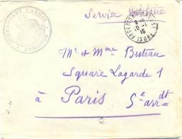 GUERRE 14-18 COMMANDANT D'ARMES * ARGENTON * TàD ARGENTON S/CREUSE INDRE Du 10-1-15 + VERSO KRAG BD SEUL 7 PARIS-R P 7 - Marcophilie (Lettres)