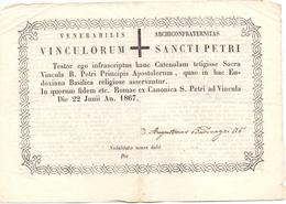 Devotie - Devotion - Diplome - Vinculorum Sancti Petri - Romae Rome 1867 - Diplômes & Bulletins Scolaires