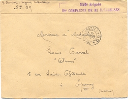 GUERRE 14-18 Sergent Mitrailleur TRESOR ET POSTES * 59 * 27 DEC 15 - 250e Brigade 2me COMPAGNIE DE MITRAILLEUSES - Postmark Collection (Covers)