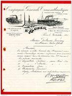 FACTURE (Réf:C124) (VIEUX PAPIERS -Documents Commerciaux) COMPAGNIE GÉNÉRALE TRANSATLANTIQUE H. ZUBER PARIS - France