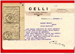 FACTURE (Réf:C132) (VIEUX PAPIERS -Documents Commerciaux)CELLI TRICOTS SPORTS BONNETERIE BORDEAUX - France