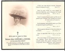 Faire-Part Madame Albert DONCKIER De DONCEEL Décédée à Bruxelles Le 12/09/1910 - Esquela