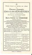 Faire-Part OscarJoseph Chevalier SCHAETZEN Décédé Le 13/9/1907 Voir Verso - Obituary Notices