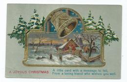 Christmas Postcard A Joyous Christmas Embossed Bell Unused - Navidad