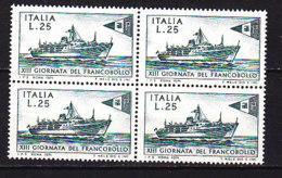 PGL DF138 - ITALIA REPUBBLICA 1971 SASSONE N°1163 ** QUARTINA - 6. 1946-.. Repubblica