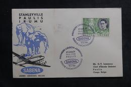 RUANDA-URUNDI - Enveloppe 1er Vol Stanley / Paulis En 1955, Affranchissement Et Cachets Plaisants - L 41267 - Ruanda-Urundi