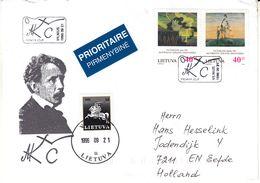 Lituanie - Lettre De 1996 - Oblit Vilnius - Exp Vers Eefde - Peintures - Lithuania