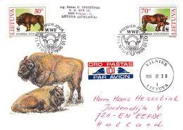 W.W.F. - Lituanie - Lettre De 1996 - Oblit Vilnius - Exp Vers Eefde - Bisons - Panda - Lithuania