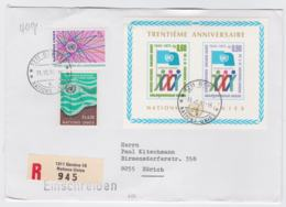 United Nations Registered Cover From Geneve Franked With 30 Years UN Posted 1211 Geneve 10 Nations Unies 1991 - Briefe U. Dokumente