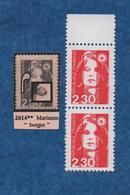 "FRANCE -VARIETE -1989- N++ -Marianne De Briat - 2.30 Rouge ( Marianne ""borgne"" Sur 1 Timbre) Paire- Yvert N° 2614 - Variedades Y Curiosidades"