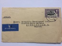 CEYLON George V 1937 Air Mail Cover Colombo To Birmingham England - Ceylon (...-1947)