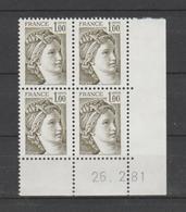 FRANCE / 1979 / Y&T N° 2057 ** : Sabine 1F Olive - Gomme D'origine (brillante) X 4 - 1981 02 26 ( ) - 1970-1979