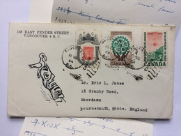 CANADA 1964 Cover With Totem Pole Illustration Aldergrove BC To Bournemouth England With Enclosures - 1952-.... Elizabeth II