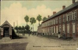 Cp Rexpoëde Nord, École Communale De Filles, Schule, Straßenansicht - France