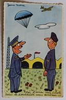 CPSM Illustrateur Jean Marc Aviateur Parachutiste Avion Armée Humour Blin Daniel BPC Caserne Bosquet Mont De Marsan - Humor