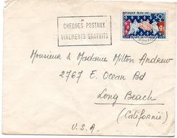 France N° 1223 Y. Et T. Paris  Flamme Illustrée  Du 04/12/1959? Pour Les USA - Postmark Collection (Covers)