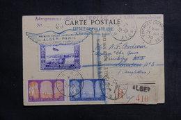 ALGÉRIE - Carte Postale Du 1er Vol Alger / Paris En 1930, Affranchissement, Vignette Et Cachets Plaisants - L 41285 - Covers & Documents