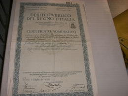 CERTIFICATO NOMINATIVO DEBITO PUBBLICO DEL REGNO D'ITALIA 1934 - Automobilismo