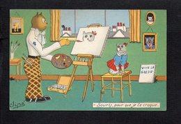 """Fantaisie,Humour Illustrateur Signé Jipé """" Souris Pour Que Je Te Croque ... """" Chat Humanisé,peintre - Unclassified"""