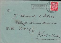 Landpost-Stempel Großwülknitz über Köthen (Anhalt) 2, Brief KÖTHEN LAND 16.3.37 - Germania
