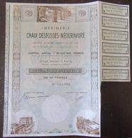 Achat Immédiat - Action De L'Imprimerie Chaix-Desfossés-Néogravure SA Fondée En 1868 - Industrie