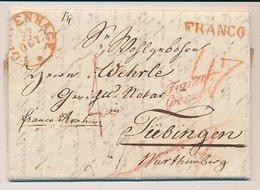 Den Haag - Tubingen Duitsland 1833 - Franco Grenzen - Niederlande