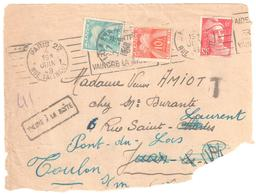 PARIS 22 Devant Lettre 3° Ech Affranchie 1° Ech 6f Au Lieu De 12 F Taxe 2x6F Réexpédiée TROUVE BOITE Yv T 82 86 Ob 1948 - Postage Due